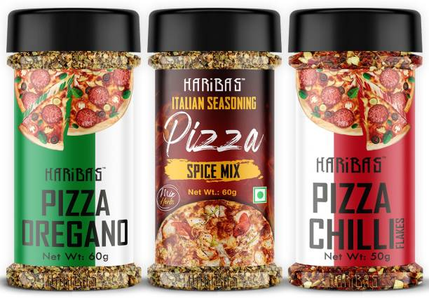 HARIBAS Italian Mix Herb Seasoning Combo Pack Chilli Flakes 50GM, Oregano 60GM and Pizza Spice Mix 60g for Pizza, Pasta Pizza Seasoning In Sprinkler Bottle