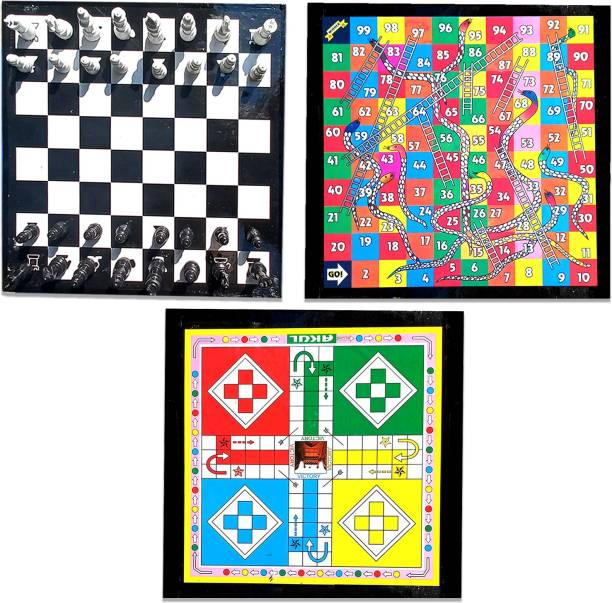 shri shyam traders super combo pack of ludo +chess +snakes and ledders 15 cm Chess Board