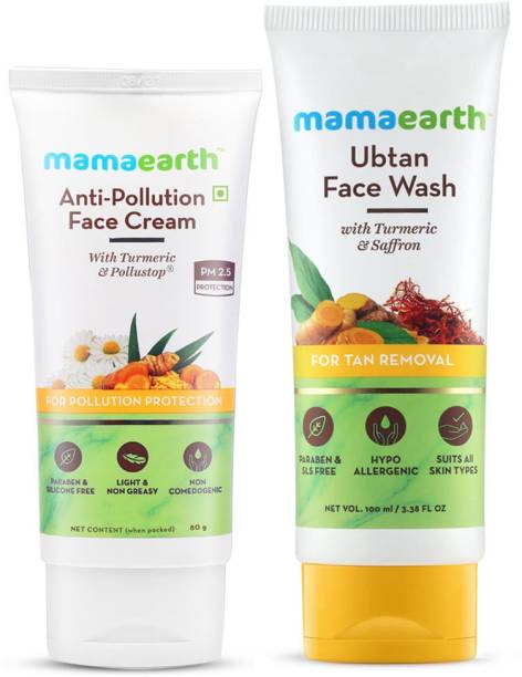 MamaEarth Natural Radiance Combo (Anti-Pollution Daily Face Cream 80ml + Ubtan Face Wash 100ml)