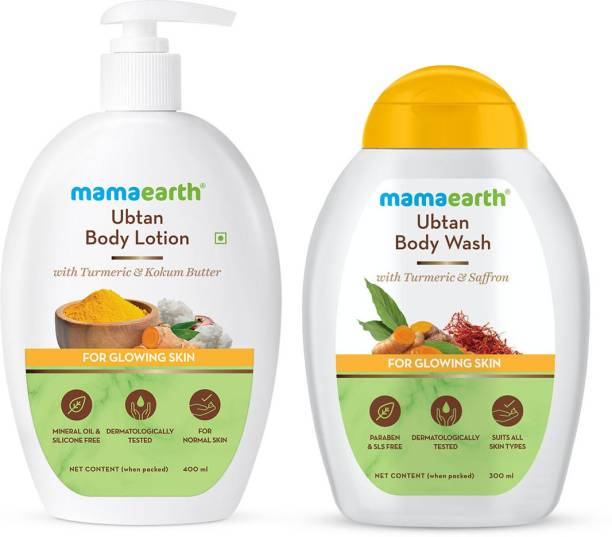 MamaEarth Ubtan Cleanse & Nourish Combo (Ubtan Body Lotion 400ml + Ubtan Body Wash 300ml)