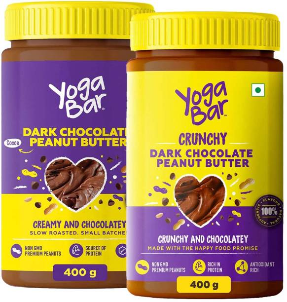 Yogabar Peanut Butter Dark Chocolate | Super Saver Combo, 2 x 400g | Creamy Peanut Butter 400g and Crunchy Peanut Butter 400g | Slow Roasted, Non-GMO Choco Spread, Suitable for Vegan & Keto Diet 400