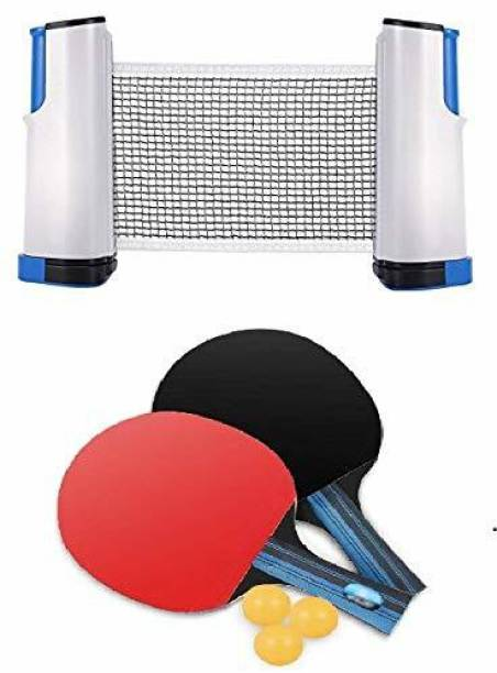 ADONYX Table Tennis Combo - Two Racket with Three Ball and One Adjustable & Foldable TT Net Table Tennis Kit