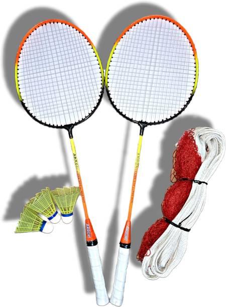 ARRON Wide Body Badminton Racket Pack Of 2 Piece With 6 Piece Shuttles And 1 Piece Badminton Net Badminton Kit