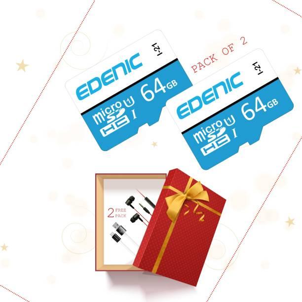 EDENIC 64GB pack 2 64 GB MicroSD Card Class 10 80 MB/s  Memory Card