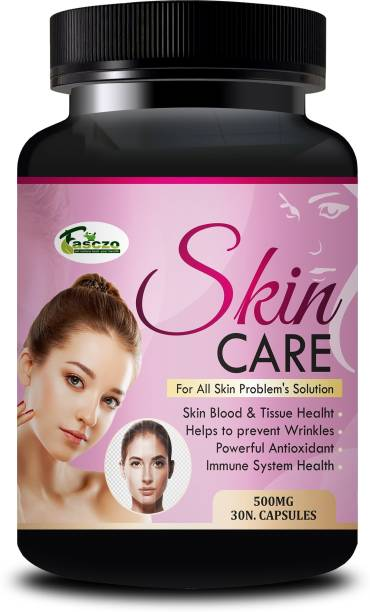 Fasczo Skin Care Organic & Ayurvedic Capsules For Wrinkles and fine lines, Uneven pigmentation resulting in things like freckles and age spots, Skin, Blood & Tissue Health, Loose rough skin 100% Organic And Herbal