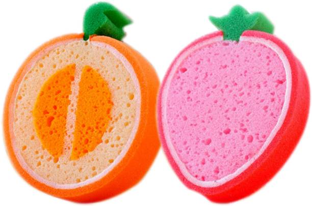 SoftSwiss Baby Bath Sponge, In Fruits Design, UlraSoft, Specially for New Born Babies and Children (STRAWBERRY1_PEACH1), Pack of 2 Pc