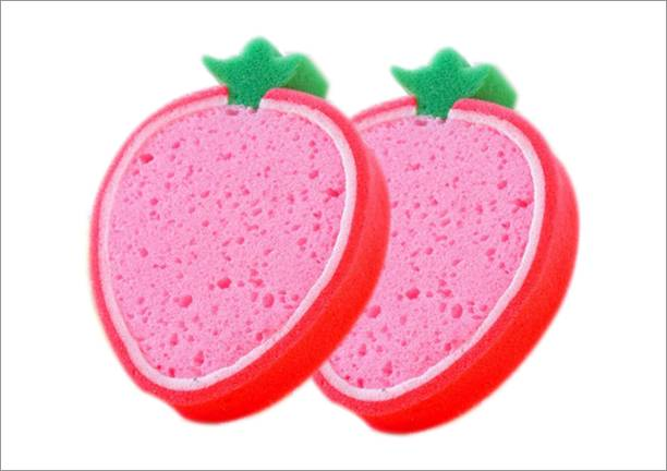 SoftSwiss Baby Bath Sponge, In Fruits Design, UlraSoft, Specially for New Born Babies and Children (STRAWBERRY_2), Pack of 2 Pc