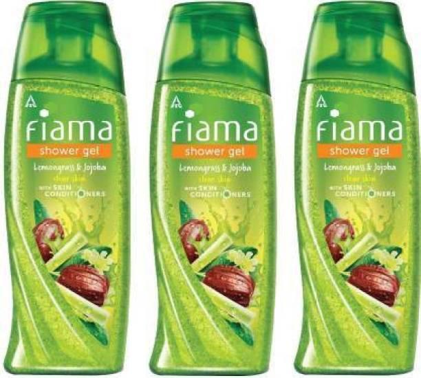 FIAMA Lemongrass & Jojoba Clear Skin With Skin Conditioners Shower Gel 300ml Each (Pack of 3) (3 x 100ml)