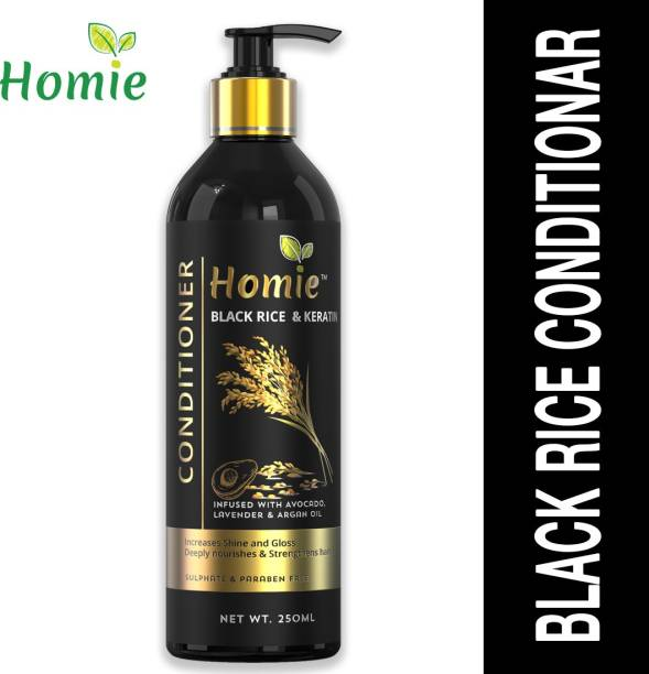 HOMIE BLACK RICE AND KERATIN HAIR CONDITIONER WITH COCONUT MILK FLEX SEEDS AND ARGAN (250 ml)