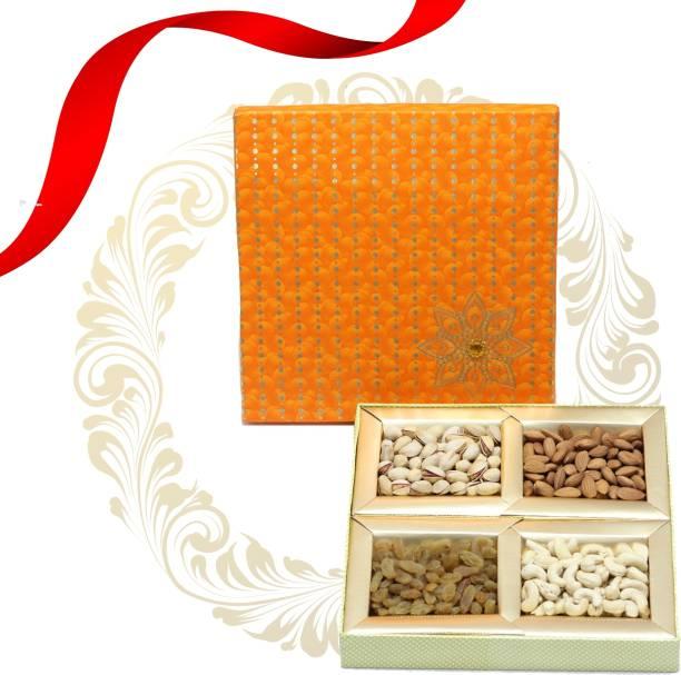 TAAZA SHAHI MEWA Dry Fruits Gift Box   10 X 10   Medium   Orange