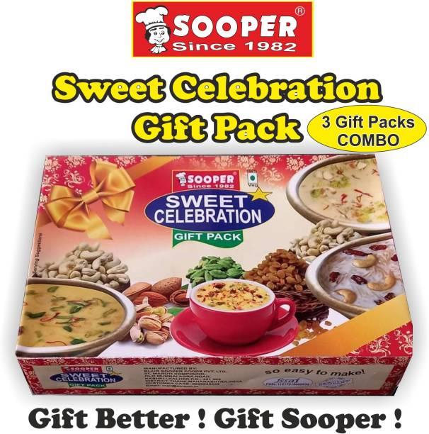 SOOPER 3 GIFT PACKS OF BASUNDI MIX, KHEER MIX, RABDI MIX & BADAM DRINK MIX 550 g