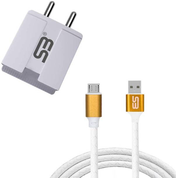 SB 3.4A Double USB Port Fast Power Adapter 5W BIS Certified, Auto-detect Technology, (White) with Micro USB (Metal Cap) Data Cable 3.0A Charging Cable Gold Length 1 Meter Long Cable Compatible With Tecno Spark 6 Air, Tecno Spark Go, Tecno Spark 5, Tecno Spark Power, Tecno Spark Power. 5 W 3.4 A Multiport Mobile Charger with Detachable Cable
