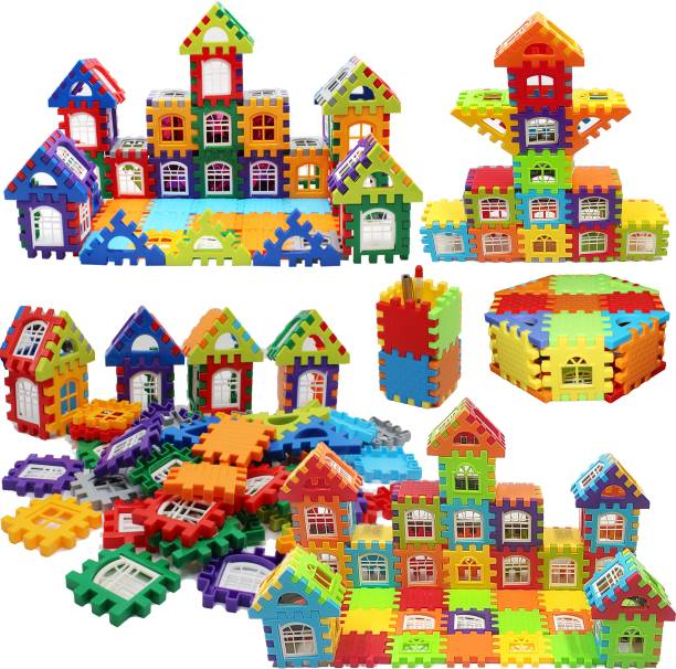 latex 72 Pcs Building Blocks Toy Set House Building Blocks with Windows Creative Learning Block Toys For Kids Boys and Girls[BIG SIZE]