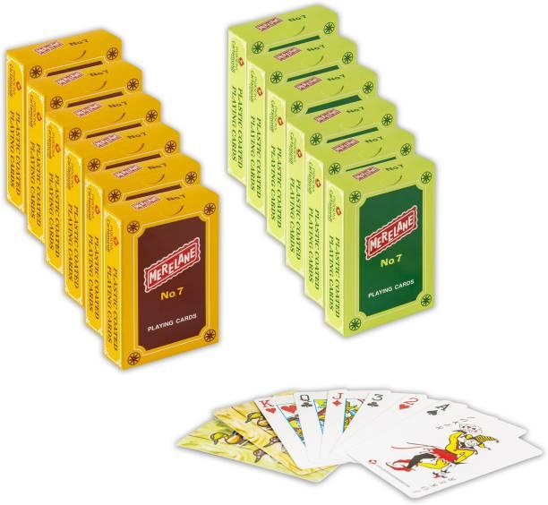 Merelane 7 Playing Cards, Bridge Size, 12 Decks of Cards