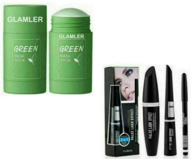 Madaara Combo Of Green Tea Purifying Clay Stick Mask, Green Tea Facial Detox Mud Mask And 3 In 1 Waterproof Eyeliner, Liquid Mascara & Black Kajal.
