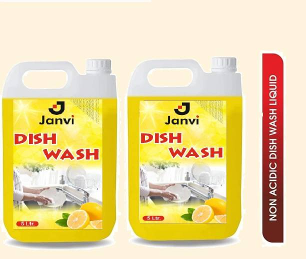 JANVI CITRUS ORANGE DISH WASH LIQUID 5 LTR X 2 Dish Cleaning Gel (ORANGE, 2 x 5 L) Dishwash Bar