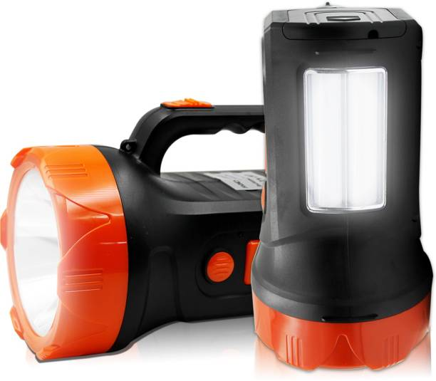 Pick Ur Needs Rechargeable High Range Emergency Search Torch Light 75 Watt Laser + Side 2 Tube Emergency Light Torch Color As Per Availability Torch Emergency Light