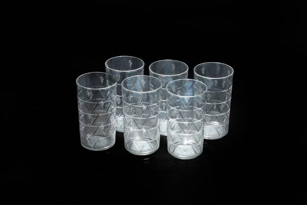EMBICON (Pack of 6) Smart Buy 100% Unbreakable Triangle Pattern Water,Juice,Beer(White,6 pcs) Glass Set