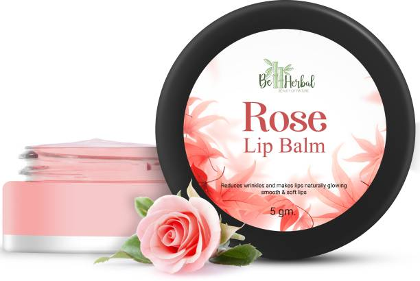 BE HERBAL Rose Lip Balm 100% Pure & Natural Reduces Wrinkles & Makes Lips Naturally Glowing Smooth & Soft Lips (5.gm) (Pack of - 1) Rose
