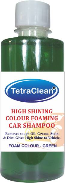 TetraClean Color Foam Car Shampoo for Machine Wash High Shining and Degreasing Color Foam Car Shampoo  Removes Tough Oil, Stains & Dirt, and Grease  Gives High Shine to Vehicles / 250ml / Green Color Car Washing Liquid