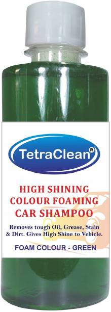 TetraClean Color Foam Car Shampoo for Machine Wash High Shining and Degreasing Color Foam Car Shampoo  Removes Tough Oil, Stains & Dirt, and Grease  Gives High Shine to Vehicles / Green Color / 500ml Car Washing Liquid