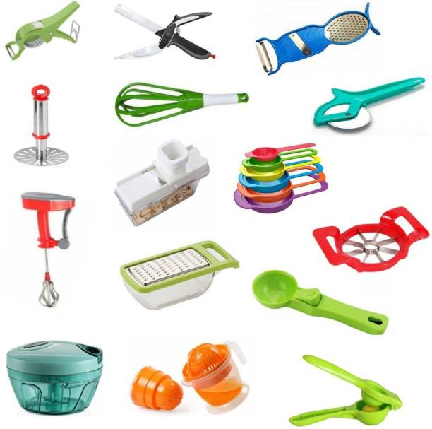"""""""JASHU N RINKU"""" COMBO-15000 MULTI PURPOSE AND MULTI USEFULLLY 15 pcs KITCHEN TOOL SET Combo-15000 (Best Quality) (Multicolor), VERY USEFULL AND HELPFULL FOR WOMEN, LADIES. Multicolor Kitchen Tool Set"""