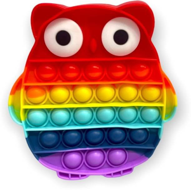 SARASI Pop It Push It Fidget Excellent Toy , Stress Buster Silicone Pop It Toy [Owl Design] [Multicolor]