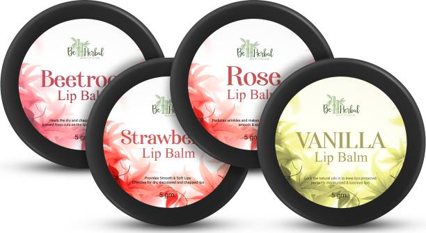 BE HERBAL Beetroot + Strawberry + Rose + Vanilla Combo Lip Balm Pure & Natural Provides You Smooth & Soft Lips Effective for Dry Discolored & Chapped Lip (20.gm) (Pack of - 4) Beetroot,Strawberry,Rose,Vanilla
