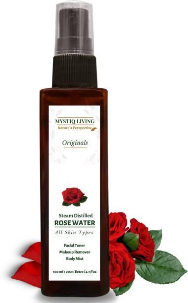 Mystiq Living Rose Water/ Steam Distilled / Toner/ Makeup Remover / Face Mist (No Artificial Fragrance & Alcohol)