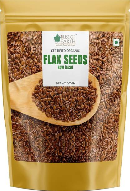 Bliss of Earth 500GM Certified Organic Flax Seeds Raw Superfood for Weight Loss & OMEGA