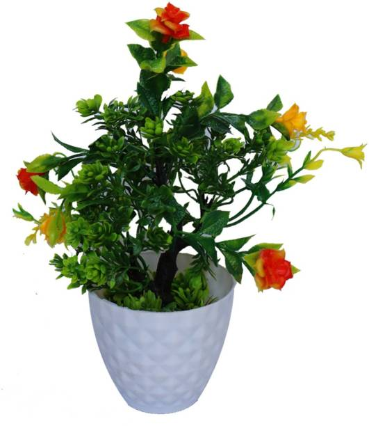 HANIRY Best Artificial Plant For Office/Home Decor Flower Suitable Table Specially For Bed Room Artificial Plant, And Beautiful Yellow red flower With Pot, Bonsai Wild Artificial Plant With Pot Plastic Flower Basket