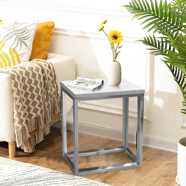 Tablewala Glossy White Side Table for Living Room Made of Engineered Wood Side Table