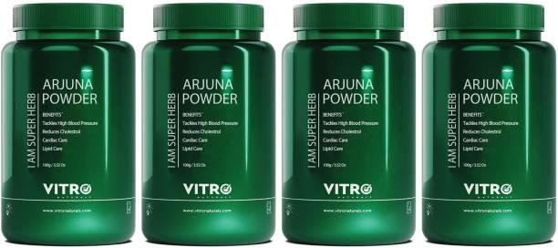 Vitro Naturals Arjuna Powder| Cholesterol & high blood pressure management| 100% pure Arjuna| I AM SUBERHERB |100 g each - Pack of 4