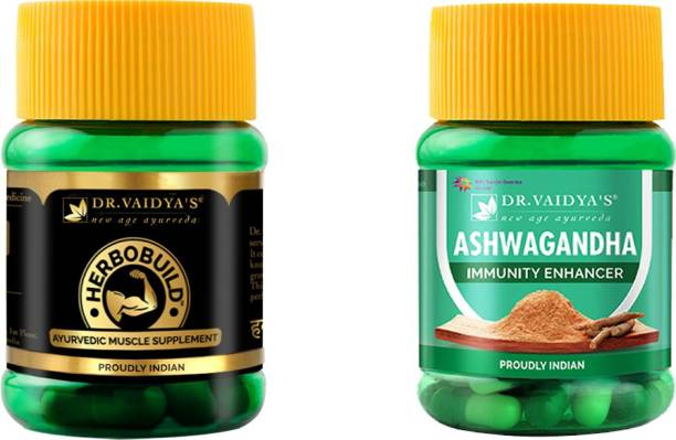 Dr. Vaidya's Muscle Builder Pack For Muscle Fuel | Muscle Gainer, Energy And Stamina Booster | 100% Natural With Ashwagandha, Shatavari, Safed Musali And Gokhru | Herbobuild x 1, Ashwagandha x 1 (30 Capsules Each)