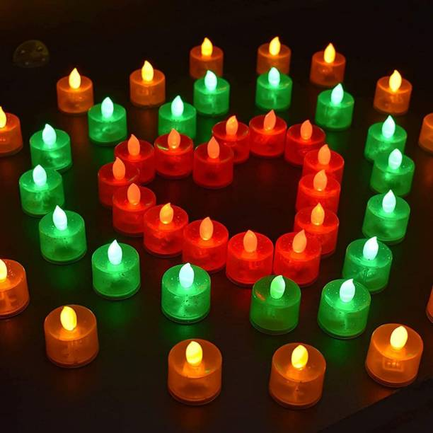 SHUANG YOU LED Candles Light Combo for Diwali Decoration | Decorative LED Candles for Home Decoration | Battery Operated Candle Lights (Set of 4, Multicolor) Candle