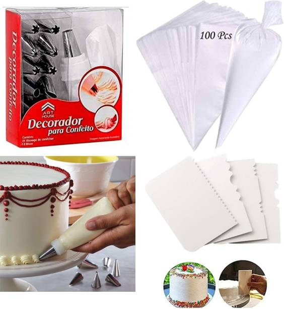 Unique Impex 100 Disposable Pastry Icing piping bag with 12 Piece Steel Nozzles Cake Decorating Set Frosting Icing Piping Bag Tips With 1 Washable & Reusable piping bag & coupler & 4 Pcs Multi-design Icing Scraper set White, Silver Kitchen Tool Set