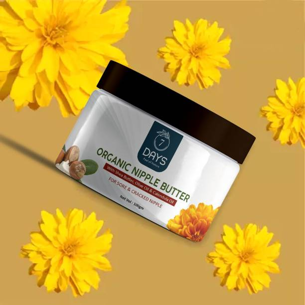 7 Days Nipple Butter For Sore And Cracked Nipples, Preservative Free, 100% Natural (50 Ml) Organic Nipple Cream Women