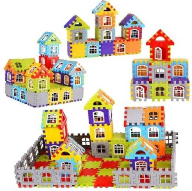 ADICHAI 150 PCs Including Attractive Windows Medium Sized Happy Home House Building Blocks with Smooth Rounded Edges