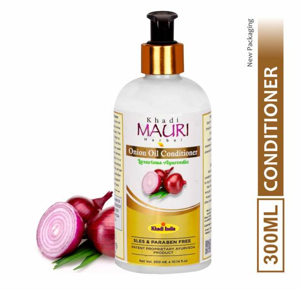 Khadi Mauri Herbal Onion Oil Hair Conditioner - Boosts Hair Repair & Silkiness - Enriched with Red Onion Oil, Aloe Vera and Hibiscus, 300 ml