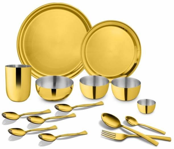 Shri & Sam Pack of 15 Stainless Steel GOLD MAJESTIC Dinner Set