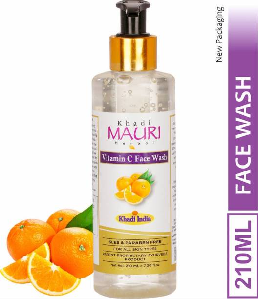 Khadi Mauri Herbal Vitamin C  - Powerful Cleanser, Brightens Complexion, Boosts Skin Tone - SLES & PARABEN FREE - 210 ml Face Wash