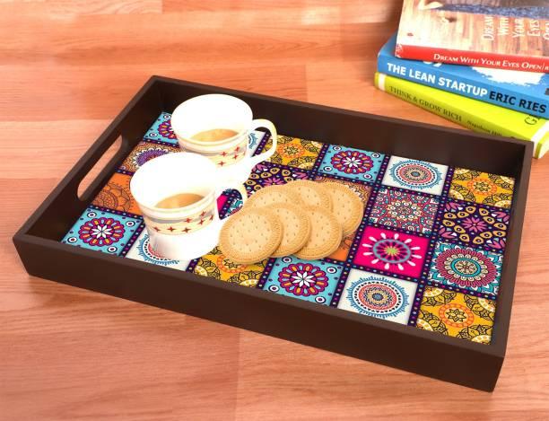 BPDESIGNSOLUTION Mandala MDF Vinyl Printing Serving Tray for Kitchen serveware Coffee Tray Table Tray Size 15x9.5x1.85 inch Tray