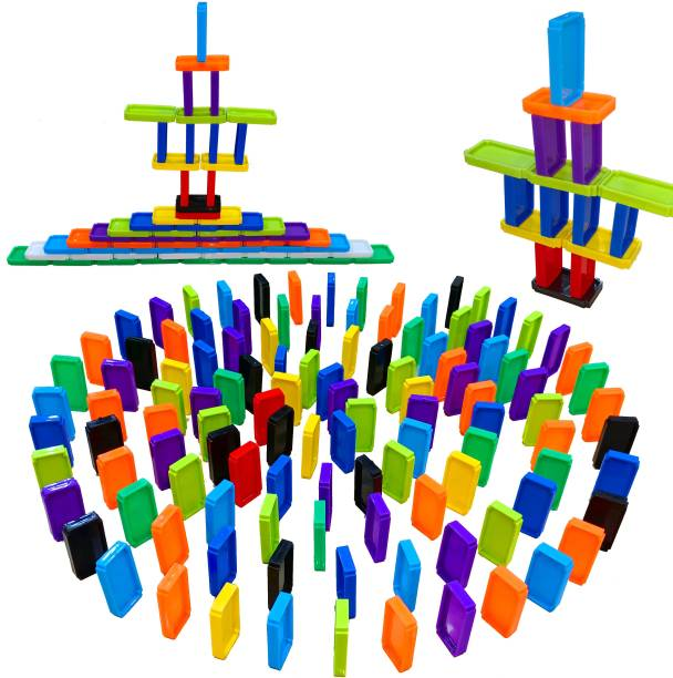 TechHark [ Pack of 240PCs ] [ 2 in 1 ] Domino Blocks Set For Kids, Stacking And Blocks Building Dual Types Playing