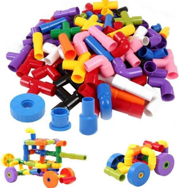 ADICHAI Multi Coloured Educational Play and Learn Plastic Building Block Set Pipes Puzzle Set - Blocks for Kids ( 56 Pieces Pipes ) - Blocks Toys and Games for Children,Multicolor
