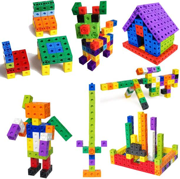TechHark India's First Most Trading Geometric Cut-Outs for More Complex Patterning Activities Math-Link Cubes Activity Early Development Blocks for Kids [ Pack of 100PCs ]