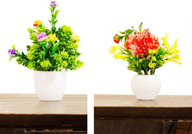 HANIRY Home/Office Table Decoration or Gift Table Flower Pot Artificial Plant with Plastic Flower Basket