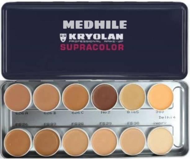 MEDHILE SupraColor Foundation Palette 12 Color ( Delhi 1 ) Foundation (12 Color, 40 ml) Foundation (MULTICOLOR, 40 ml) Foundation