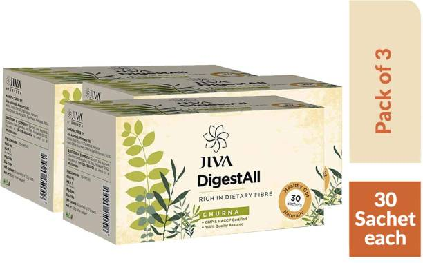 Jiva DigestAll Churna - Quick Relief from Gas, Acidity and Indigestion - 30 Sachets Each - Pack of 3
