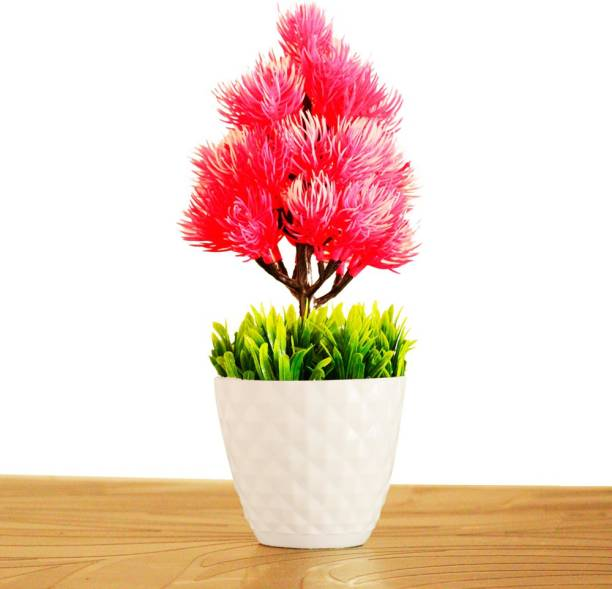 HANIRY Best flower with pot ::Home/Office Table Decoration or Gift Table Flower Pot Bonsai Wild Artificial Plant with. Plastic Flower Basket