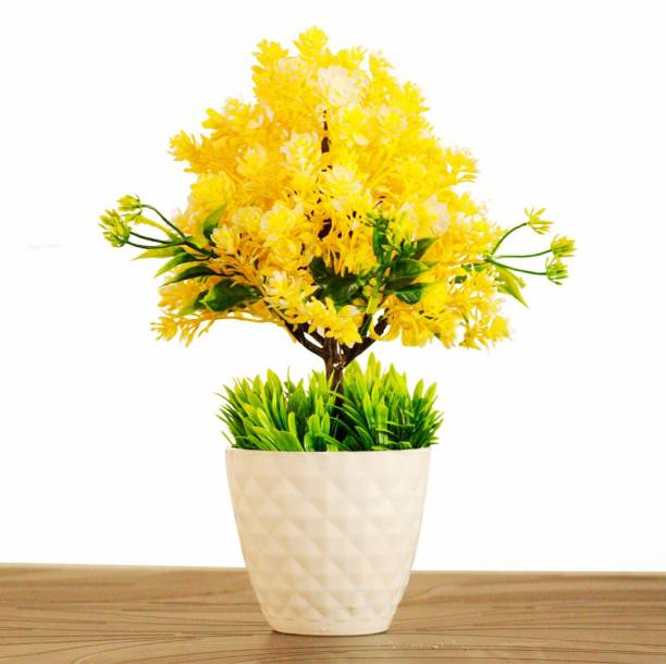 HANIRY Home/Office Table Decoration or Gift Table Flower Pot with Plastic Flower Basket